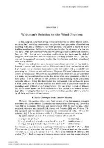 Whitman's Solution to the Word Problem