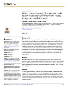 Who is research serving? A systematic realist review of ... - PLOS
