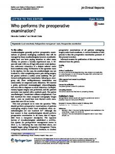 Who performs the preoperative examination? - Springer Link