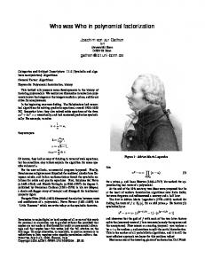 Who was Who in polynomial factorization - Sigsam