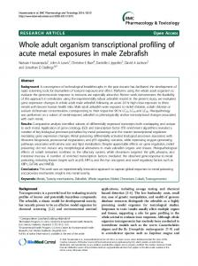 Whole adult organism transcriptional profiling of ... - BioMedSearch