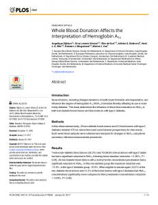 Whole Blood Donation Affects the Interpretation of Hemoglobin ... - PLOS