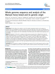 Whole genome sequence and analysis of the Marwari horse breed ...
