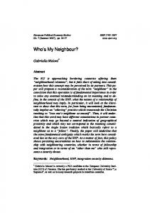 Who's My Neighbour? - European Political Economy Review
