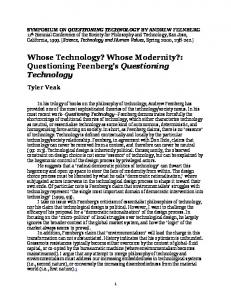 Whose Technology? Whose Modernity?: Questioning ... - SFU.ca