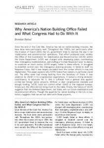 Why America's Nation Building Office Failed and What Congress Had ...