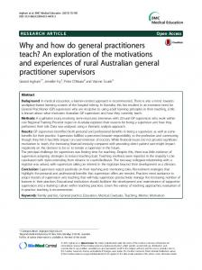 Why and how do general practitioners teach? An ... - Springer Link