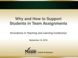 Why and How to Support Students in Team Assignments