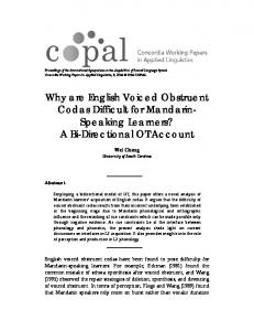 Why are English Voiced Obstruent Codas Difficult for Mandarin ...