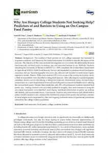 Why Are Hungry College Students Not Seeking Help ... - MDPI