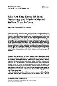 Why Are They Doing It? Social Democracy and Market-Oriented ...