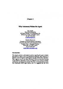 Why Autonomy Makes the Agent - CiteSeerX