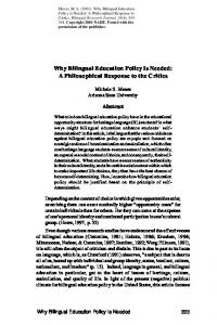 Why bilingual education policy is needed - National Education Policy ...