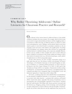 Why Bother Theorizing Adolescents' Online Literacies ...