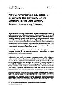 Why Communication Education is Important - Semantic Scholar