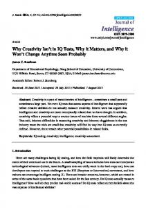 Why Creativity Isn't in IQ Tests, Why it Matters, and Why it Won't - MDPI