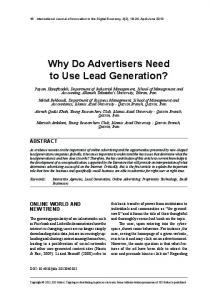 Why Do Advertisers Need to Use Lead Generation? - Semantic Scholar