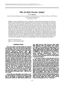 Why Do Birds Practice Anting? - Springer Link