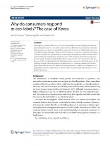 Why do consumers respond to eco-labels? The case of ... - Springer Link