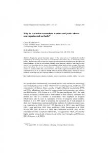 Why do evaluation researchers in crime and justice choose non ...