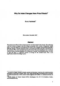 Why Do Index Changes Have Price Effects? - CiteSeerX