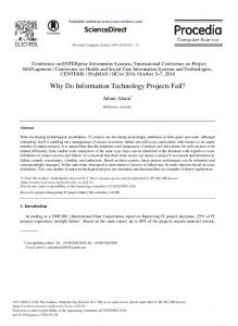 Why Do Information Technology Projects Fail? - ScienceDirect