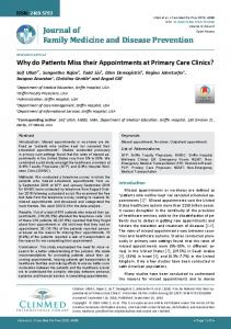 Why do Patients Miss their Appointments at Primary Care Clinics?