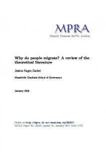 Why do people migrate? A review of the theoretical literature