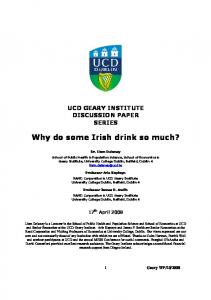 Why do some Irish drink so much? - University College Dublin