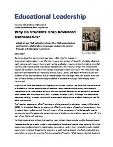 Why Do Students Drop Advanced Mathematics? - CiteSeerX