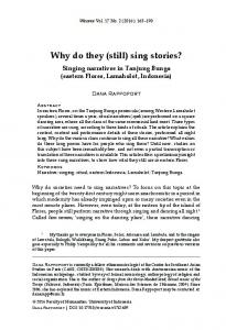 Why do they (still) sing stories? - Wacana