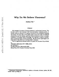 Why Do We Believe Theorems?