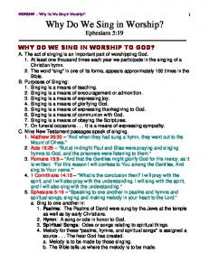 Why Do We Sing in Worship? - BibleCharts.org