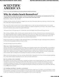Why do whales beach themsel...