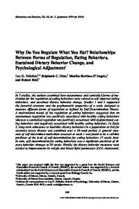 Why Do You Regulate What You Eat? Relationships Between Forms ...