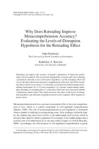 Why Does Rereading Improve Metacomprehension ... - CiteSeerX