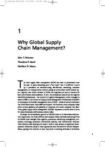 Why Global Supply Chain Management?