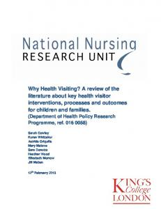 Why Health Visiting? A review of the literature about key health ...