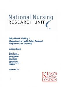 Why Health Visiting? Appendices