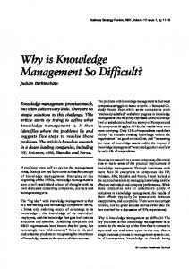 Why is Knowledge Management So Difficult? - Wiley Online Library