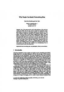 Why People Use Social Networking Sites - Semantic Scholar