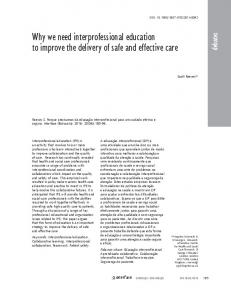 Why we need interprofessional education to improve the ... - SciELO
