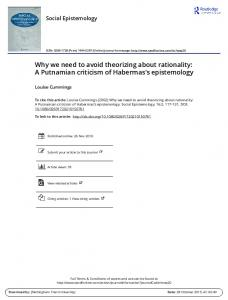 Why we need to avoid theorizing about rationality: a ...