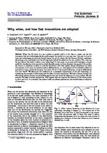 Why, when, and how fast innovations are adopted - Springer Link