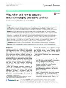 Why, when and how to update a meta ... - Systematic Reviews