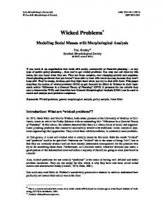 Wicked Problems - Swedish Morphological Society