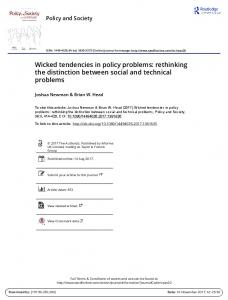 Wicked tendencies in policy problems: rethinking the