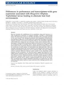wide gene expression associated with Rhagoletis ...