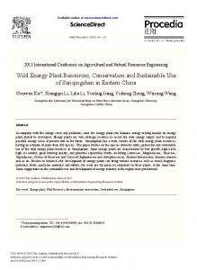 Wild Energy Plant Resources, Conservation and ...