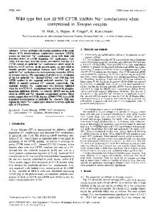 Wild type but not AF508 CFTR inhibits Na + ... - ScienceDirect